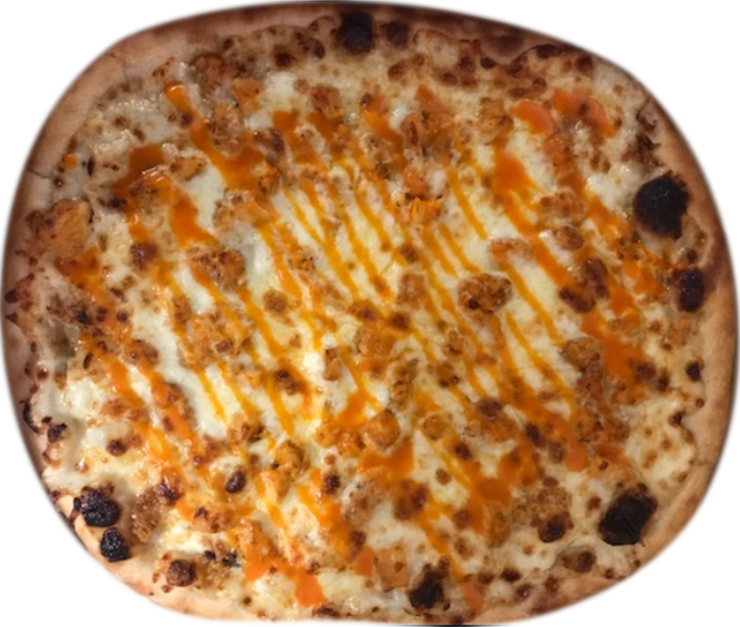 pizza with chicken and buffalo sauce drizzled across it